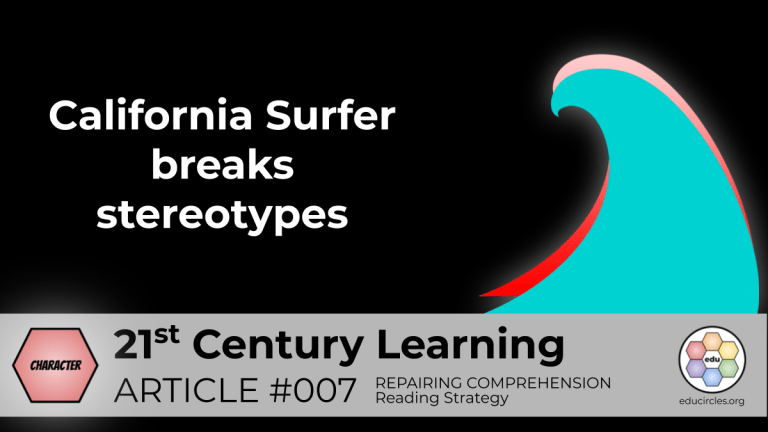 California Surfer – Character Education Lesson (Reading Response Article 007)