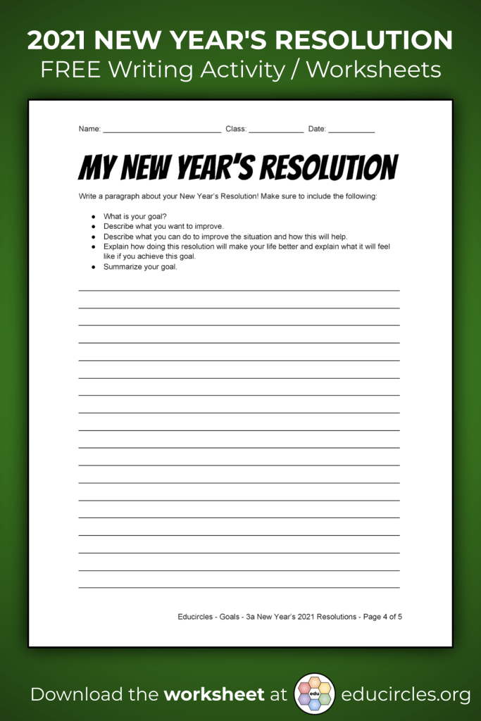 Screenshot of 2021 New Years Resolution Worksheet - page 4 Paragraph Writing