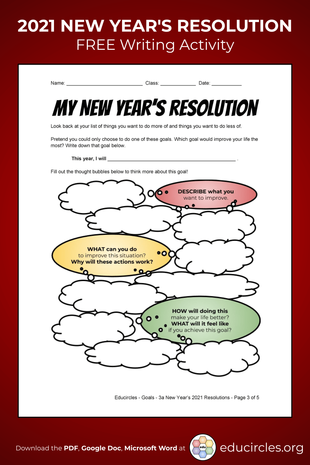 Screenshot of 2021 New Years Resolution Worksheet - page 3 My New Year's Resolution graphic organizer brainstorming questions