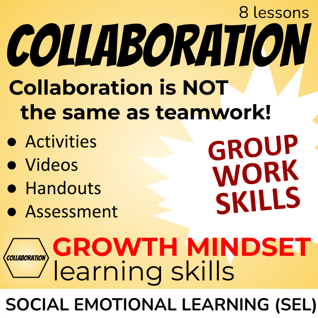 A week of Collaboration Lessons - Collaboration is not the same as teamwork! Activities, videos, handouts, assessment - group work skills - Social and Emotional Learning SEL Cover