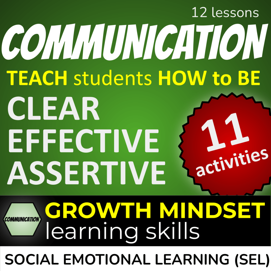 6 Cs Communication Product Cover: 12 communication lessons - teach students how to be clear, effective, assertive. 11 activities. Growth mindset 21st Century Skills for Social Emotional Learning (SEL)