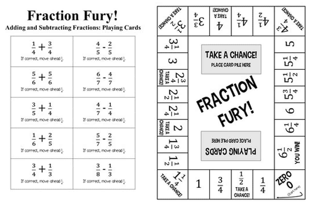 11 Printable Board Games For Adding Amp Subtracting Fractions