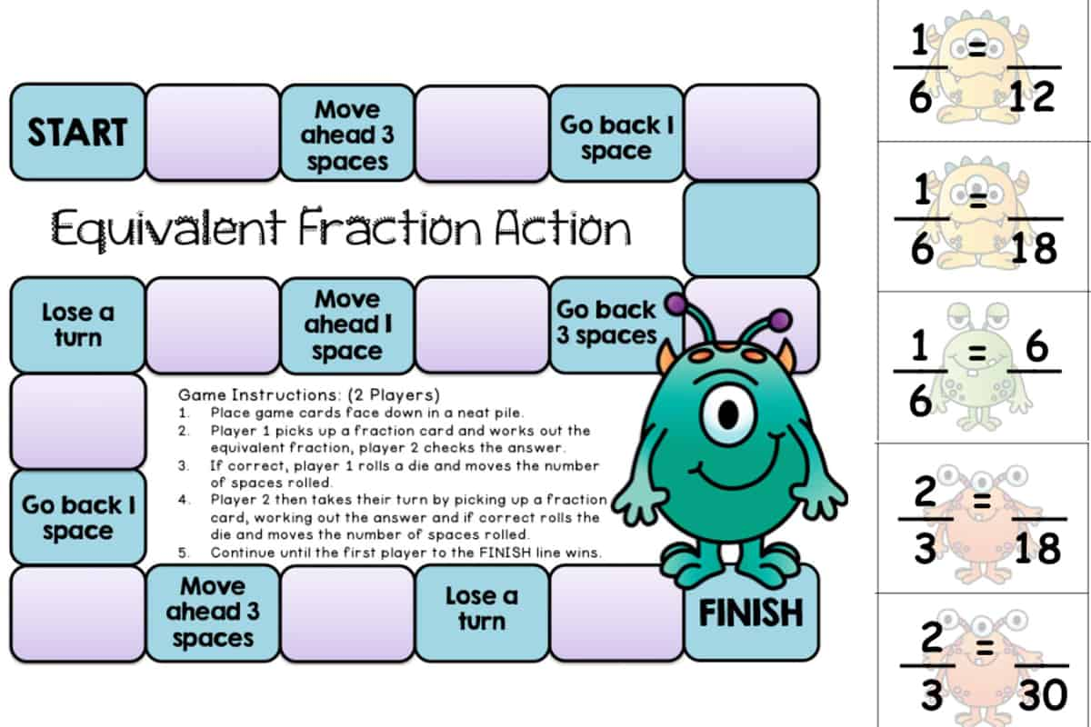 10 Printable Fraction Board Games For Equivalent Fractions