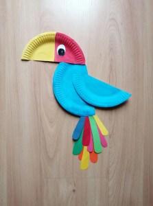 Papuga- praca plastyczna z wykorzystaniem talerzyka papierowego