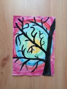 Barwny krajobraz-praca plastyczna z wykorzystaniem farb plakatowych i akwarelowych