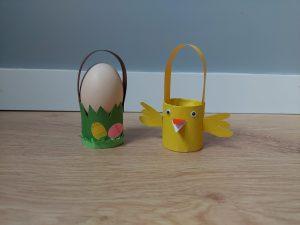 Wielkanocny koszyczek - praca plastyczna z wykorzystaniem rolki