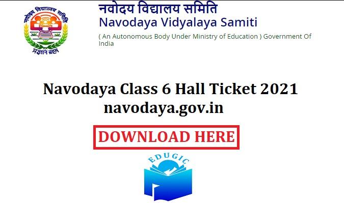 Navodaya Class 6 Hall Ticket