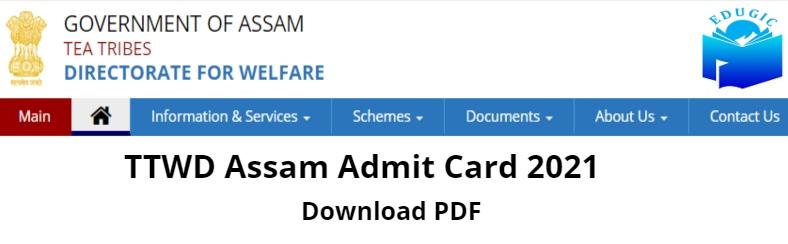 Assam Tea Tribes Welfare Admit Card