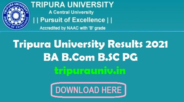 Tripura University Results 2021