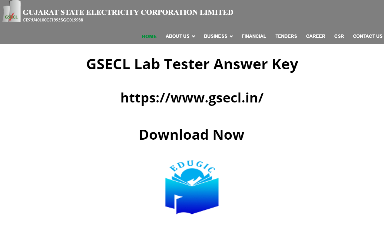 GSECL Lab Tester Answer Key 2021