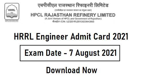 HRRL Engineer Admit Card 2021