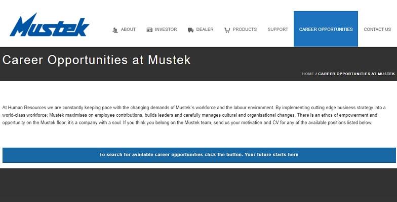 Mustek Limited Jobs 2021