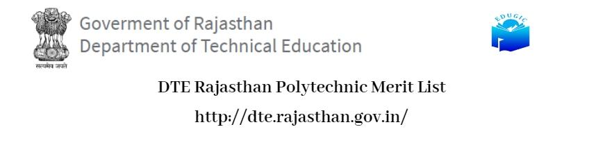 DTE Rajasthan Polytechnic Merit List