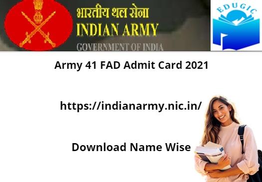 Army 41 FAD Admit Card 2021