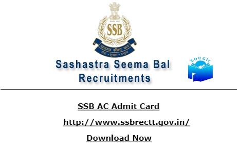 SSB AC Admit Card