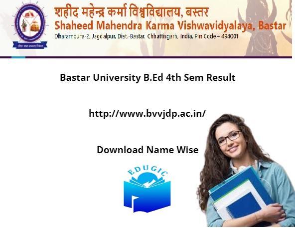 Bastar University B.Ed 4th Sem Result 2021
