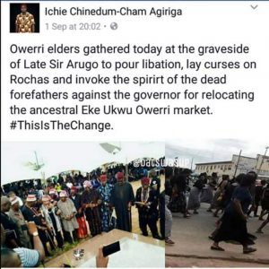 Owerri elders pouring libations