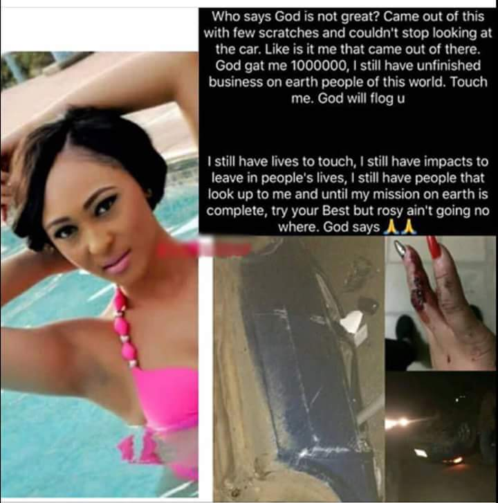 Nollywood Actress, Rosaline escapes ghastly accident