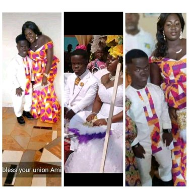 Check Out The Wedding Photos Of A Short Ghanaian Man Getting Married To A Tall Woman