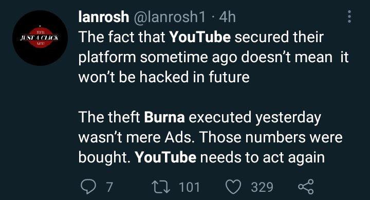 "500K views in 30 minutes, big fraud"" – Burna Boy dragged for buying fake  Youtube views - AkPraise"