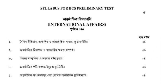 BCS Preliminary Syllabus