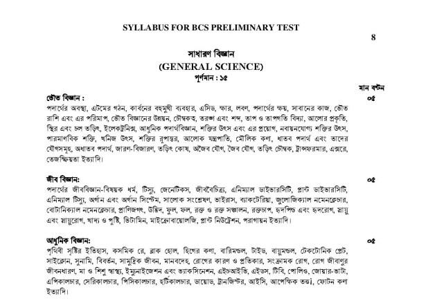 BCS Exam Syllabus