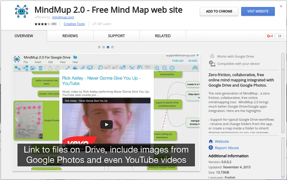 Free mind mapping software for Google Drive