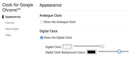 Clock for chrome set appearance