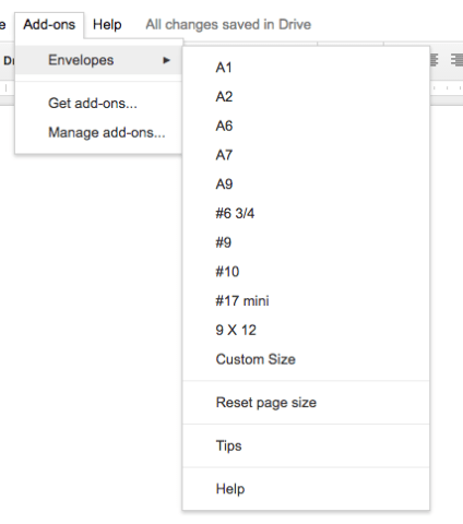Google Docs Envelopes Add On