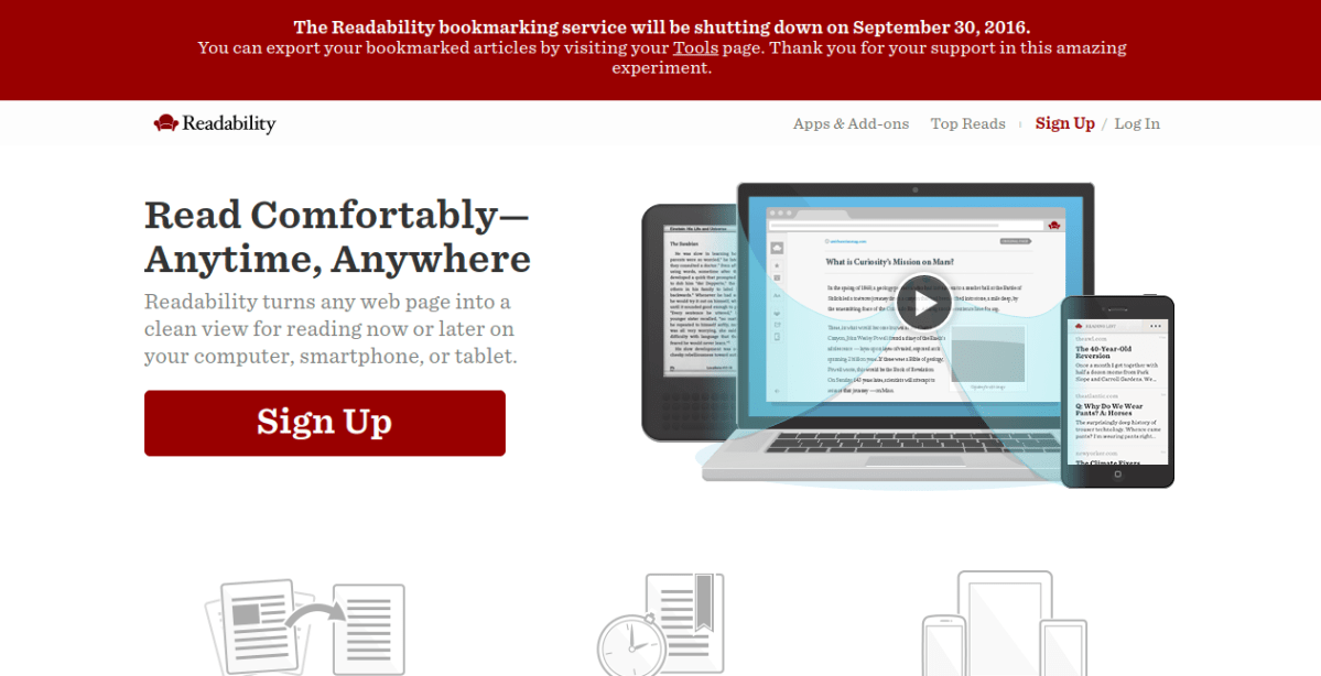 Readability is closing down September 30, 2016