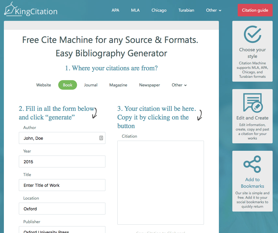 KingCitation is a free bibliography service for almost any format or source