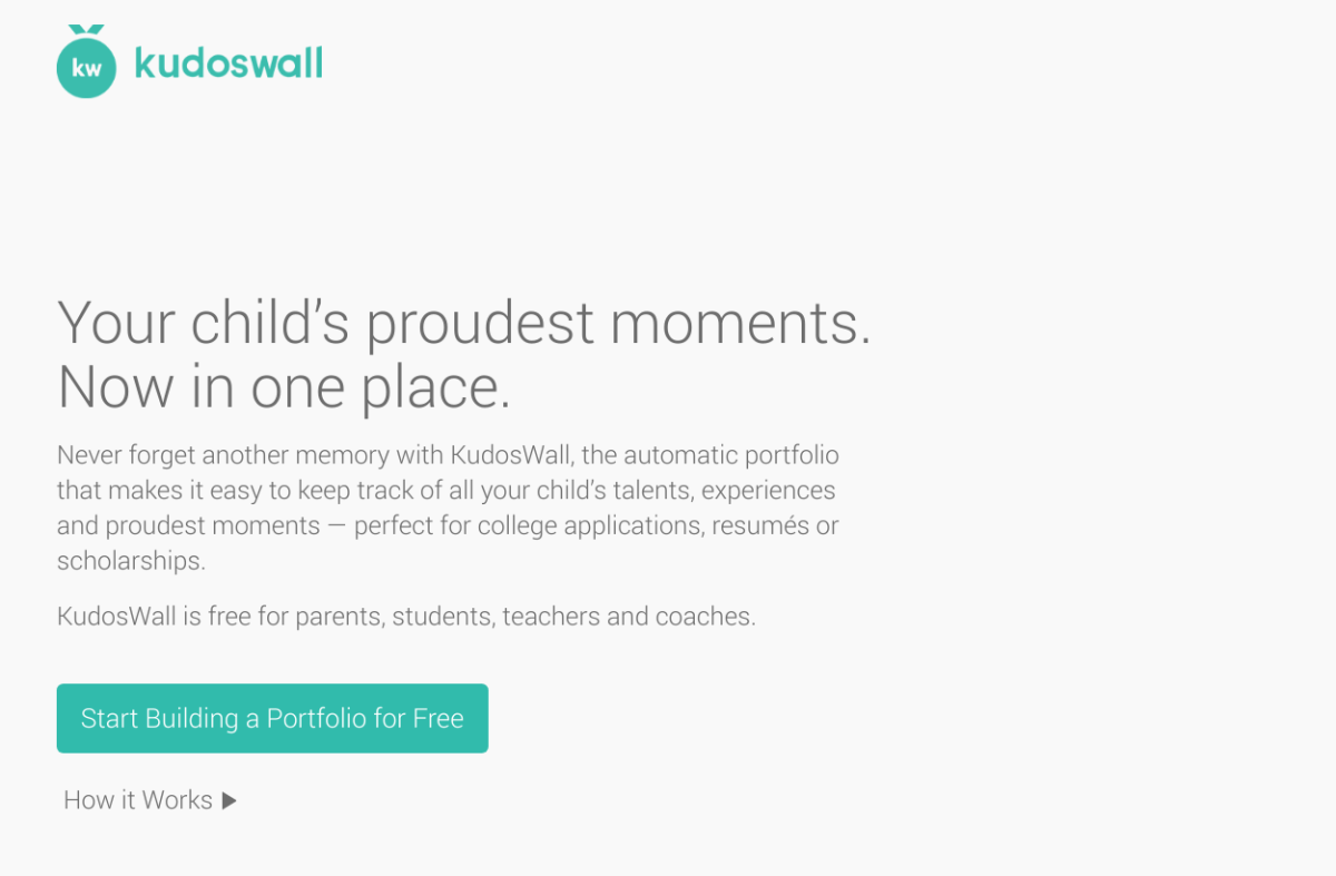 Kudoswall is a free service for students to build an online portfolio