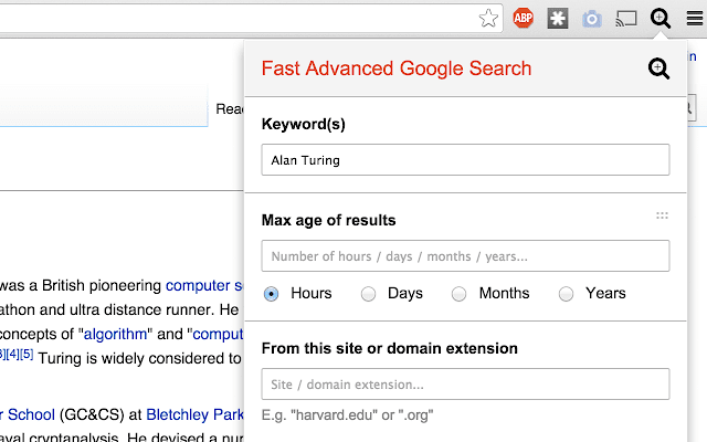 Easily use Google's advanced search tools with the Google Chrome extension Fast Advanced Google Search