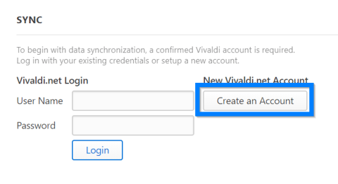 Create a Vivaldi.net account for syncing