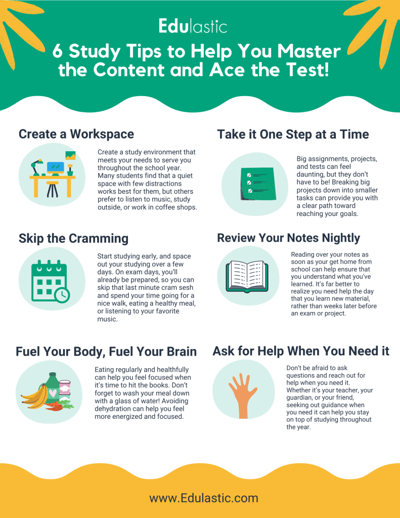 Free Printable Classroom Poster: 6 Study Tips to Help You Master the Content and Ace the Test!