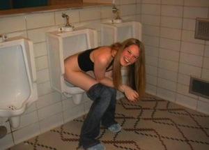 girl peeing urinal