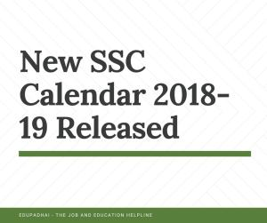 New SSC Calendar 2018-19 Released