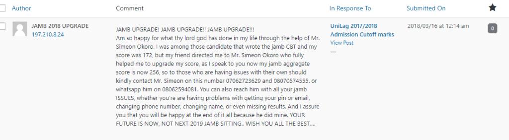 Upgrade JAMB score