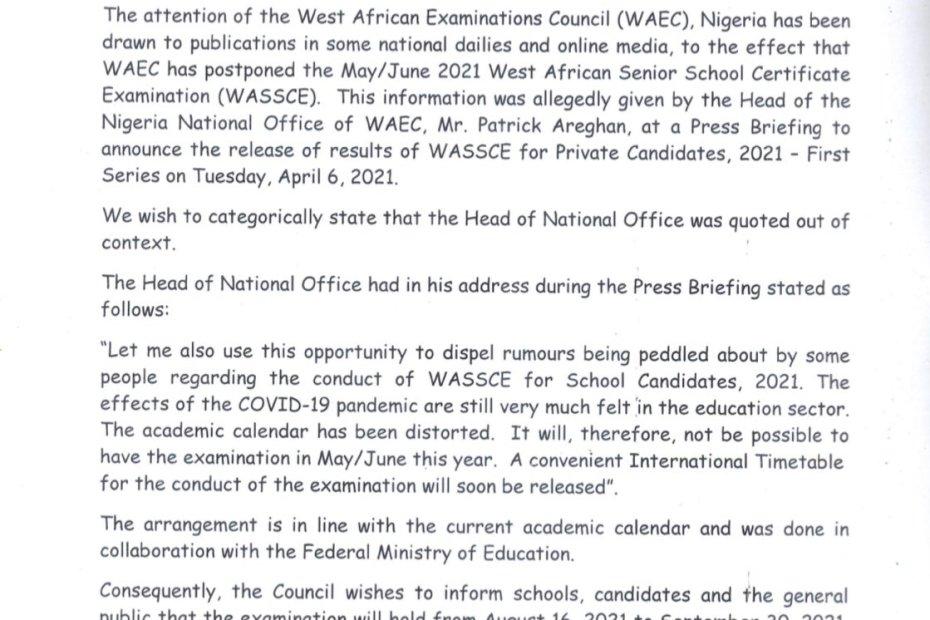 WACE press release