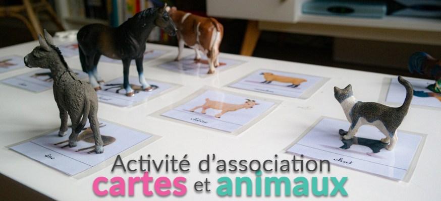 Activité d'association des cartes et des animaux de la ferme