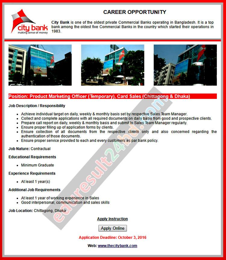 City Bank Limited Job Circular 2016