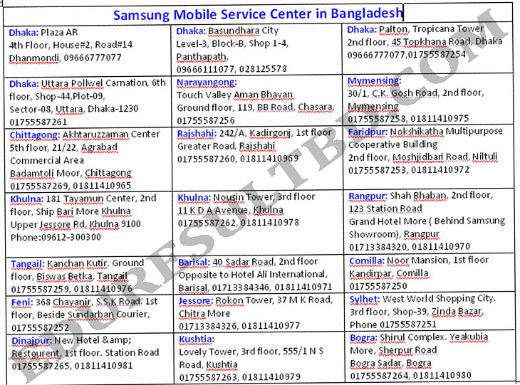 samsung mobile service center in Dhaka