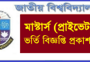 National University Masters Private Admission Notice 2020