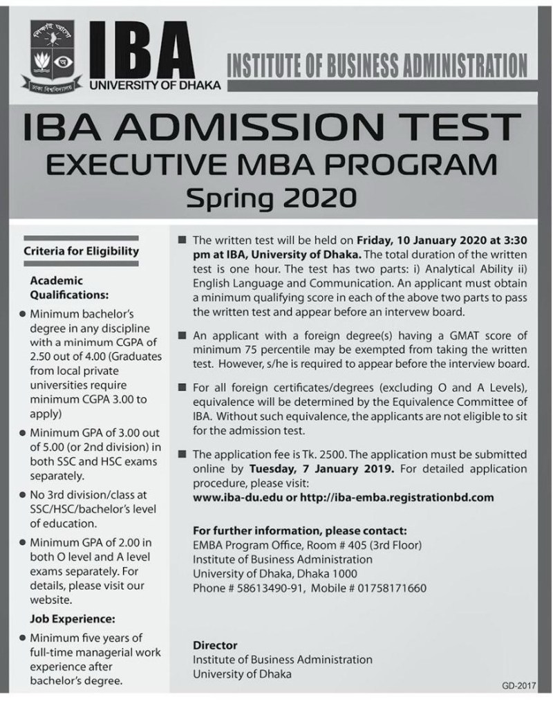Dhaka University IBA Executive MBA Admission 2020