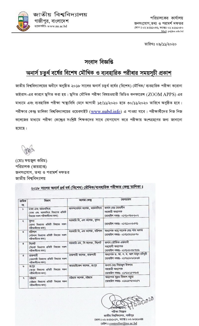 National University Honours 4th Year VIVA Routine and Exam Center List 2020