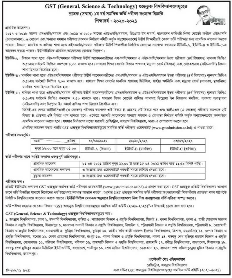 Jessore University of Science and Technology Admission Circular 2020-21