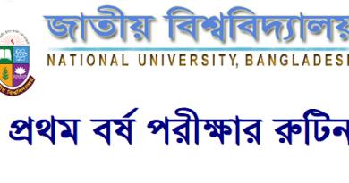 National University Honours 1st Year Exam Routine 2021