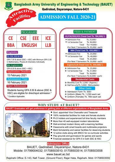 Bangladesh Army University Nator Admission Circular 2021