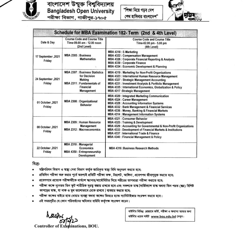 Open University MBA 2nd and 4th Level Exam Routine 2021