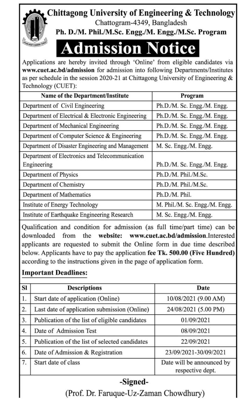 Chittagong University of Engineering MPhil and PhD Admission Circular 2021